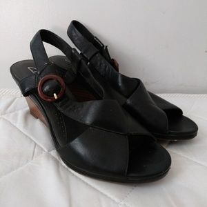 Clarks Wedges Heels Leather sz 9